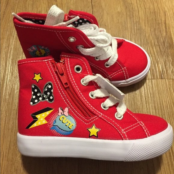 Minnie Mouse sneakers for children Laces and zipper Minnie Mouse high top shoes